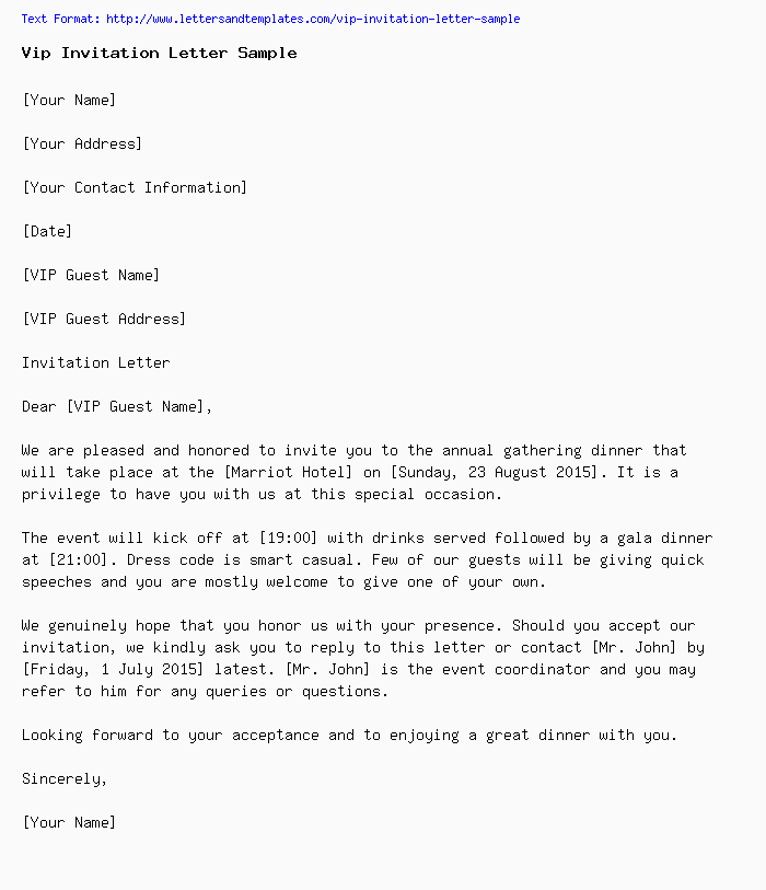 Vip Invitation Letter