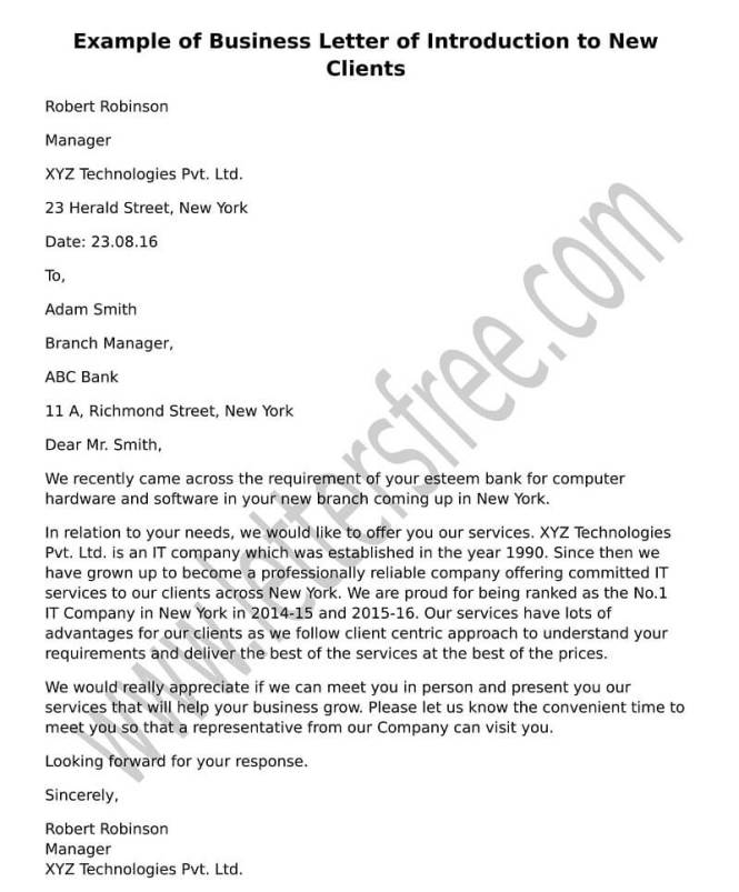 new business introduction letter