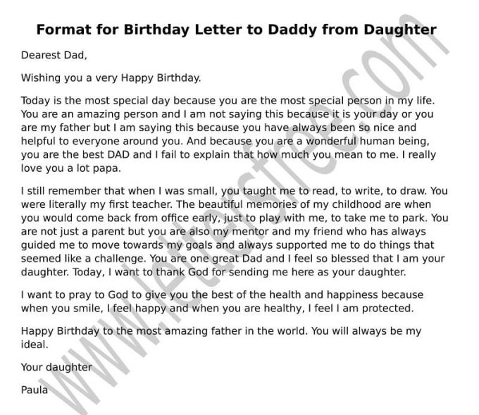 Happy Birthday Letters To Your Dad Save Template