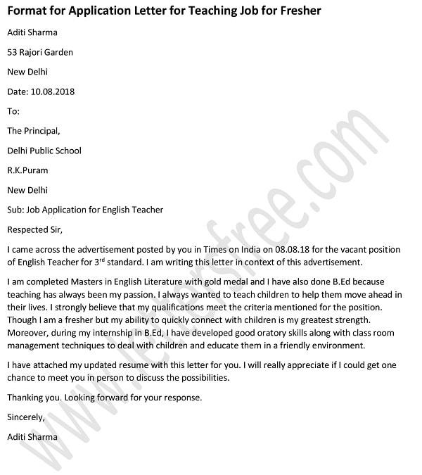 Application Letter For Teacher Job For Fresher Teacher Cover Letter Example