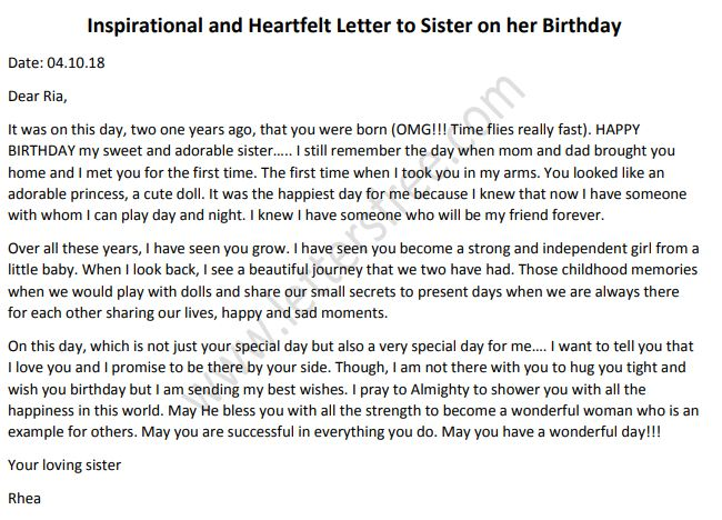 Inspirational And Heartfelt Letter To Sister On Her Birthday
