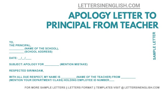 Apology Letter to Principal from Teacher - Sample Apology Letter