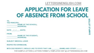 medical leave application for school student, Sample Sick leave application by student to School Principal