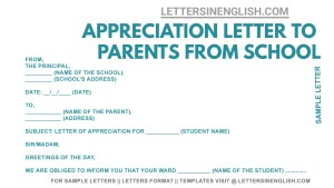 appreciation letter for parents from school format, sample thank you letter to parents from school, appreciation letter to parents