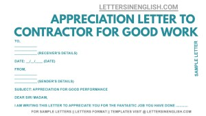 sample letter to the contractor appreciating for good work done, how to write appreciation letter to contractor for good performance, appreciation letter sample