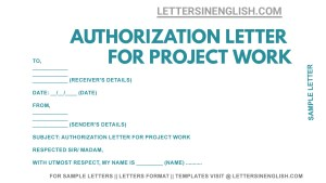 sample letter for authorization for project work, letter for authorization for project work, authorization letter for project work