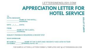– Appreciation Letter for Hotel Service