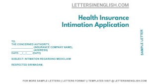 sample intimation letter to the health insurance company for claim approval, sample intimation letter to health insurance company