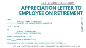 retirement appreciation letter from boss, sample retirement thank you letter to colleagues, retirement letter to employee sample