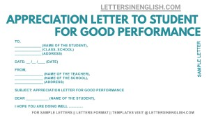 appreciation letter to students from teacher, appreciation letter from school teacher to student , appreciation letter to student for good performance, sample appreciation letter to student from teacher, appreciation letter from school teacher