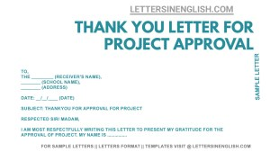 sample thankyou letter for approval of request for project, sample letter thanking for approval