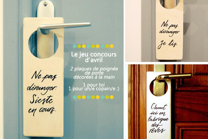 Le jeu concours d'avril   2 plaques de poignée de porte à gagner   Lettres, déco et calligraphie