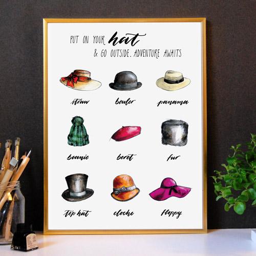 Stampe moderne per l'arredamento | Quadri moderni con cornice dorata | Con i disegni di 9 modelli di cappelli | Fashion + Lettering | LettersLoveLife