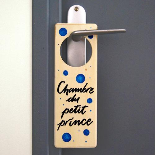 """Déco chambre garçon ou bébé: doorhanger """"Chambre de petit prince"""""""