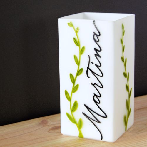 Lampada personalizzata con nome e foglioline | Regalo neonato | Letters Love Life