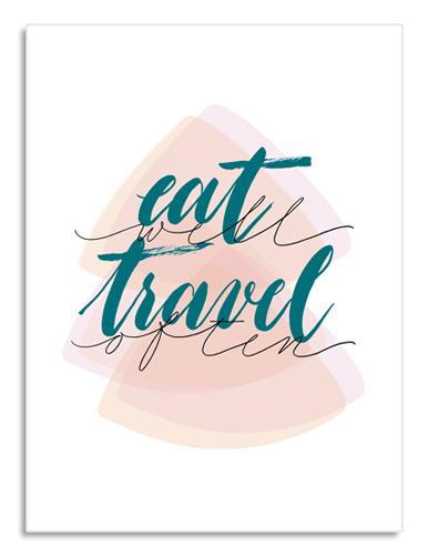 """Per chi ama i viaggi e la cucina, ecco un regalo originale: Poster """"Eat Well Travel Often""""   Lettering per un arredamento moderno   Letters Love Life"""