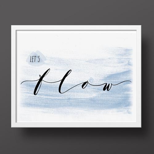 Per chi ama lo yoga, per arredare la casa con le proprie passioni: Poster Let's Flow | Lettering Marika Salerno