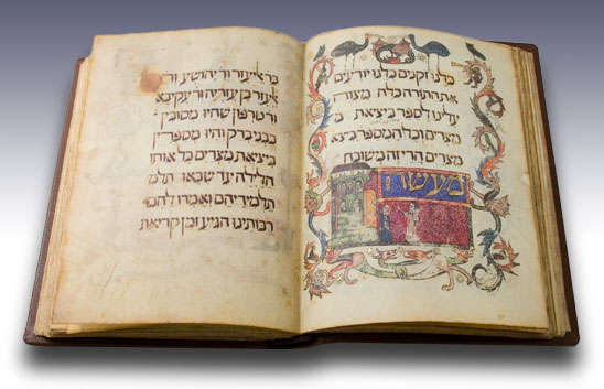 Such as.... the Barcelona Haggadah. :) This beautifully illuminated volume was created in 14th-century Barcelona. The text here is clearly legible and recognizable from the Haggadot we use today.