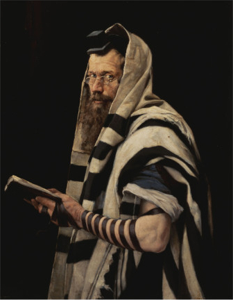 Rabbi with tefillin by Jan Styka. {public domain}