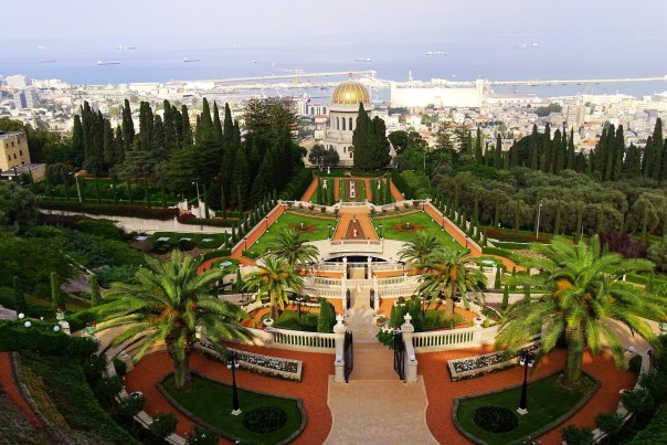 The view from the top of the Baha'i Gardens, overlooking Haifa Bay