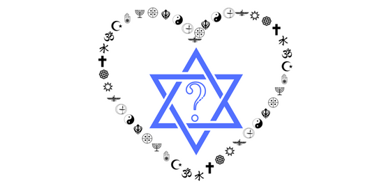 image of heart created by symbols of different religions surrounding a blue Star of David with a question mark in the center