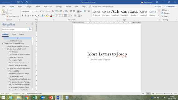 Screenshot of Microsoft Word open to a document titled 'More Letters to Josep'