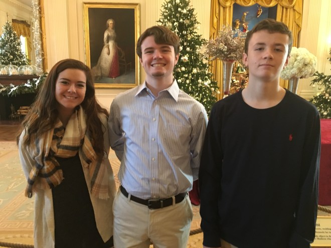 Jordan, Gavin, and Riley in the State Dining Room of the White House.