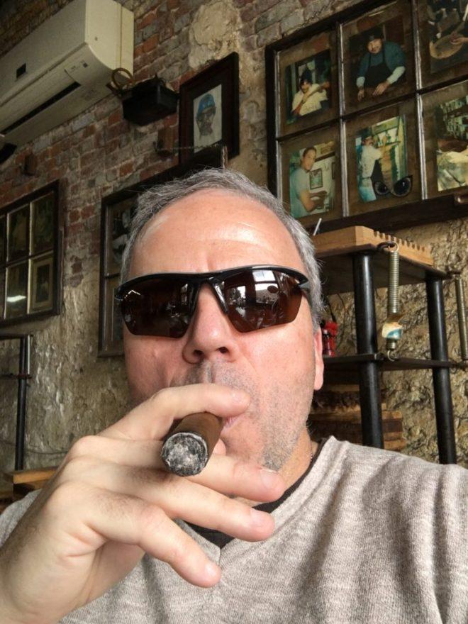 Enjoying a good cigar in New Orleans.