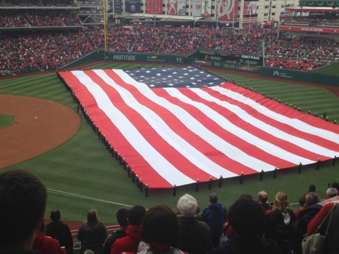 The American Flag at Nationals Park on Opening Day.