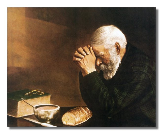 This picture of a man praying hangs in your Great-grandparents dining room.