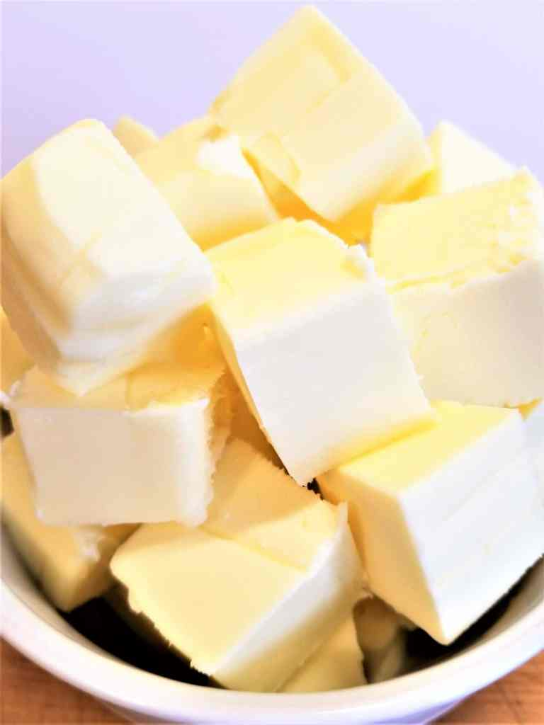 bowl of butter cubed