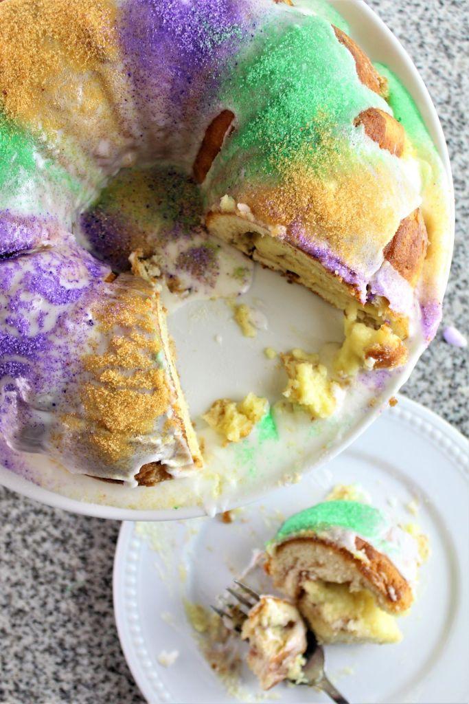 overhead shot of gluten free king cake