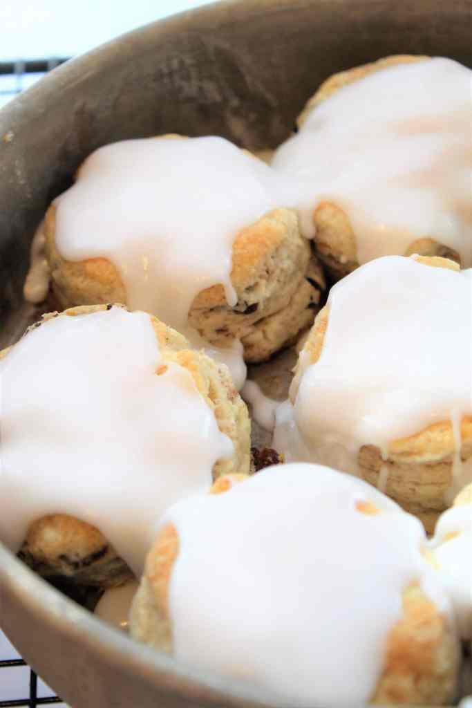 pan of several cinnamon raisin biscuits