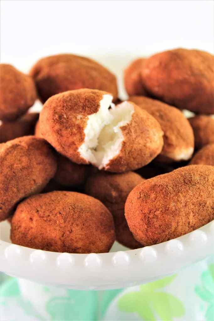 irish potato candy in white pedestal dish