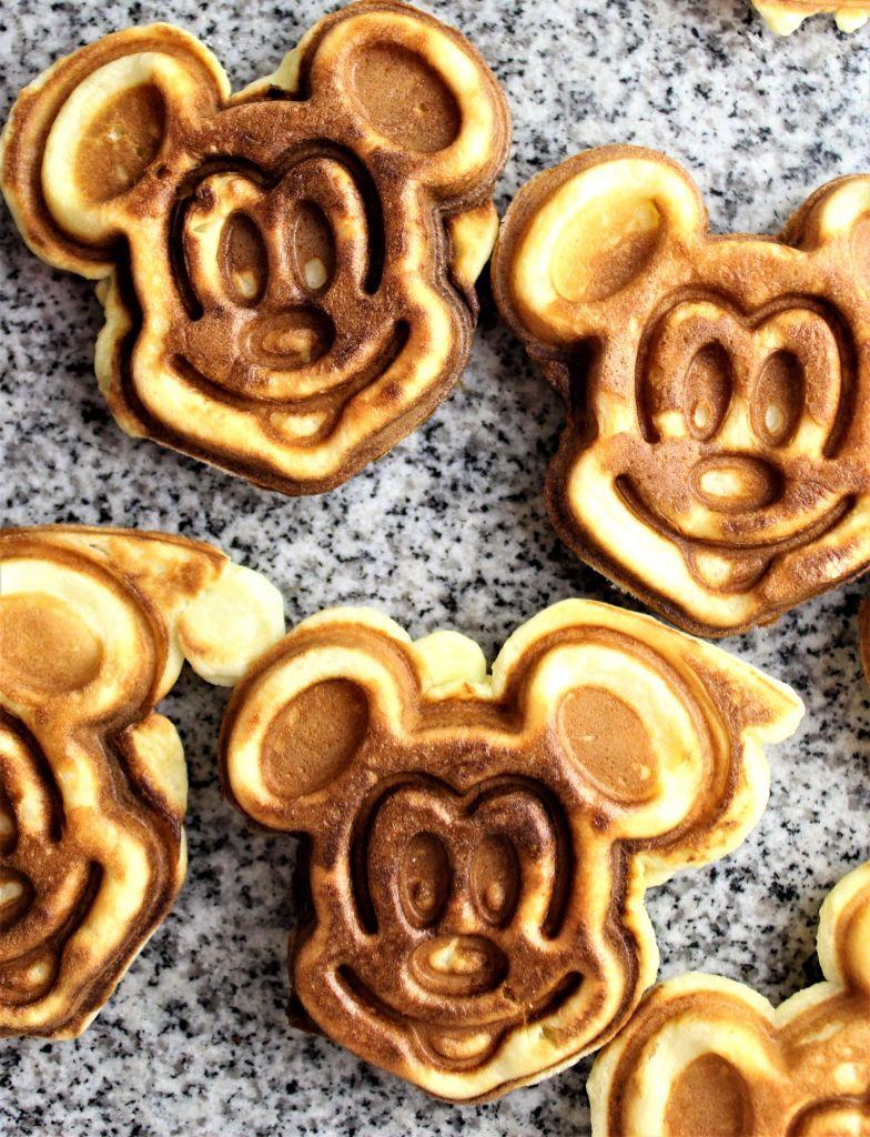 gluten free mickey waffles on granite top