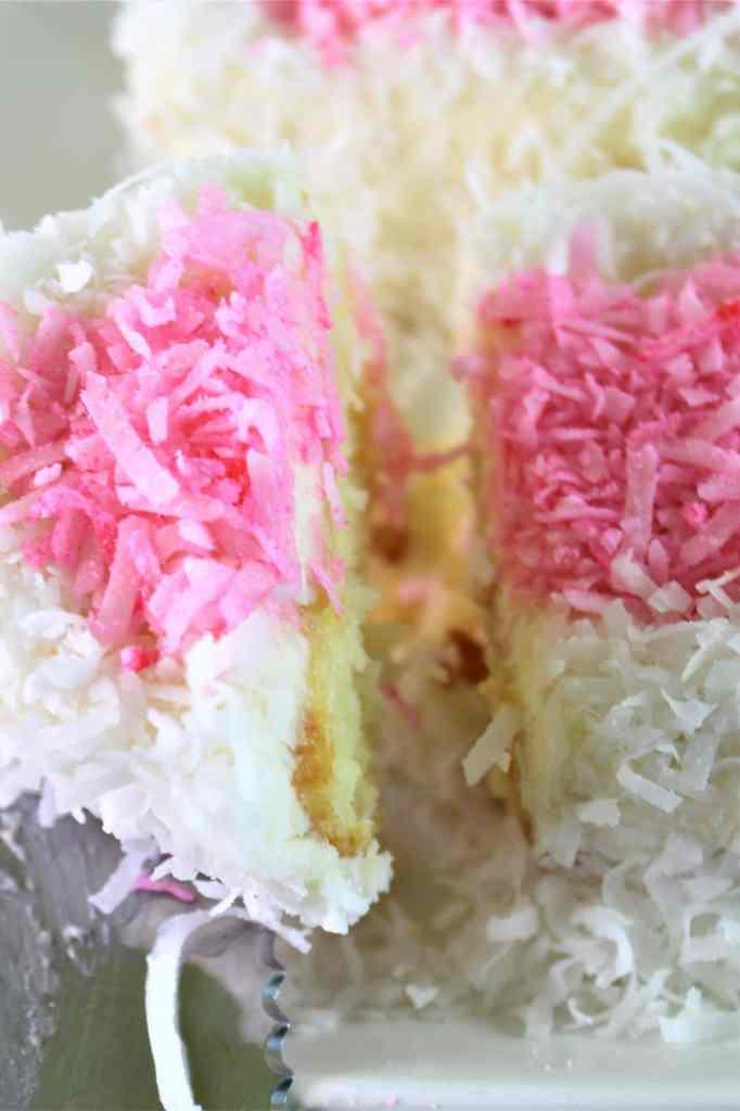 cut piece of coconut cake