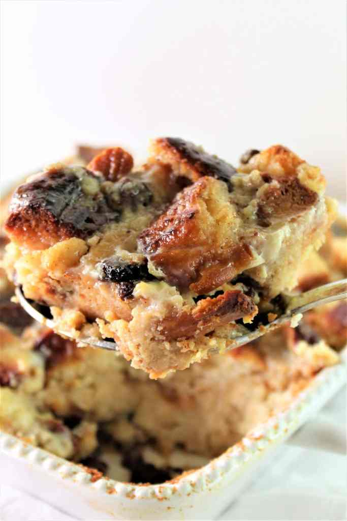 large scoop of bread pudding