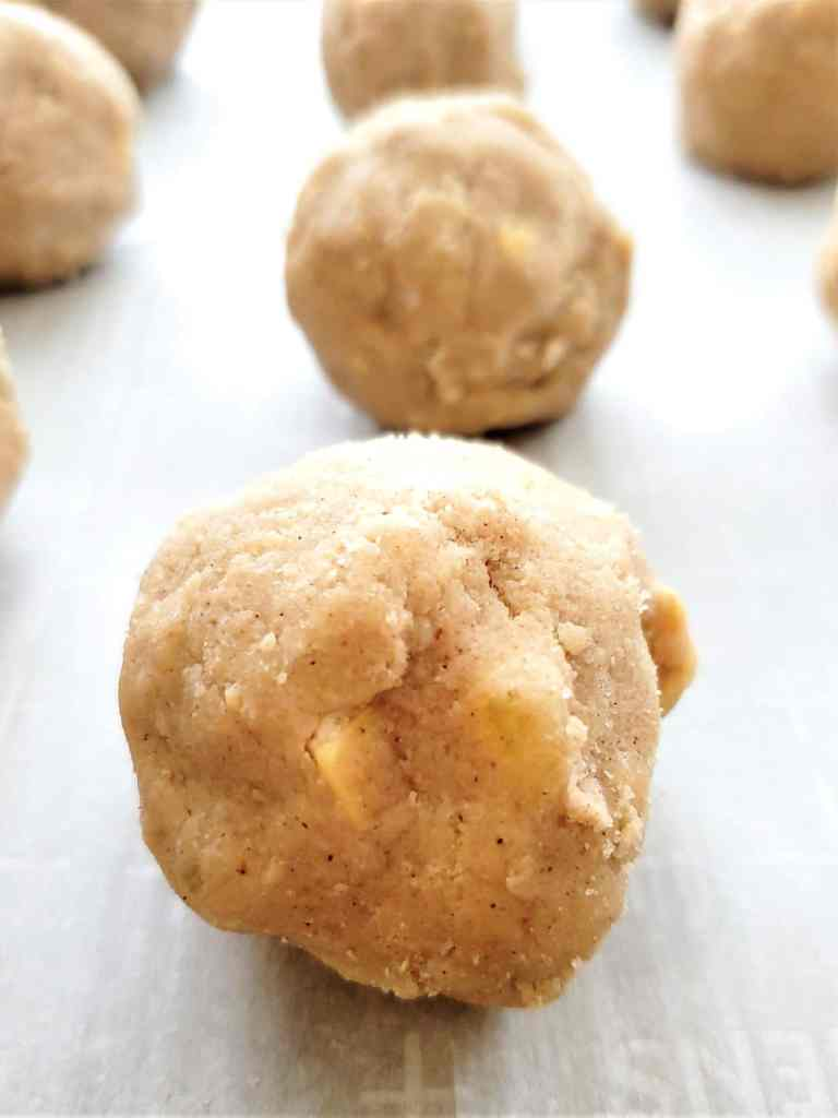 frozen dough balls for caramelized white chocolate ginger cookies