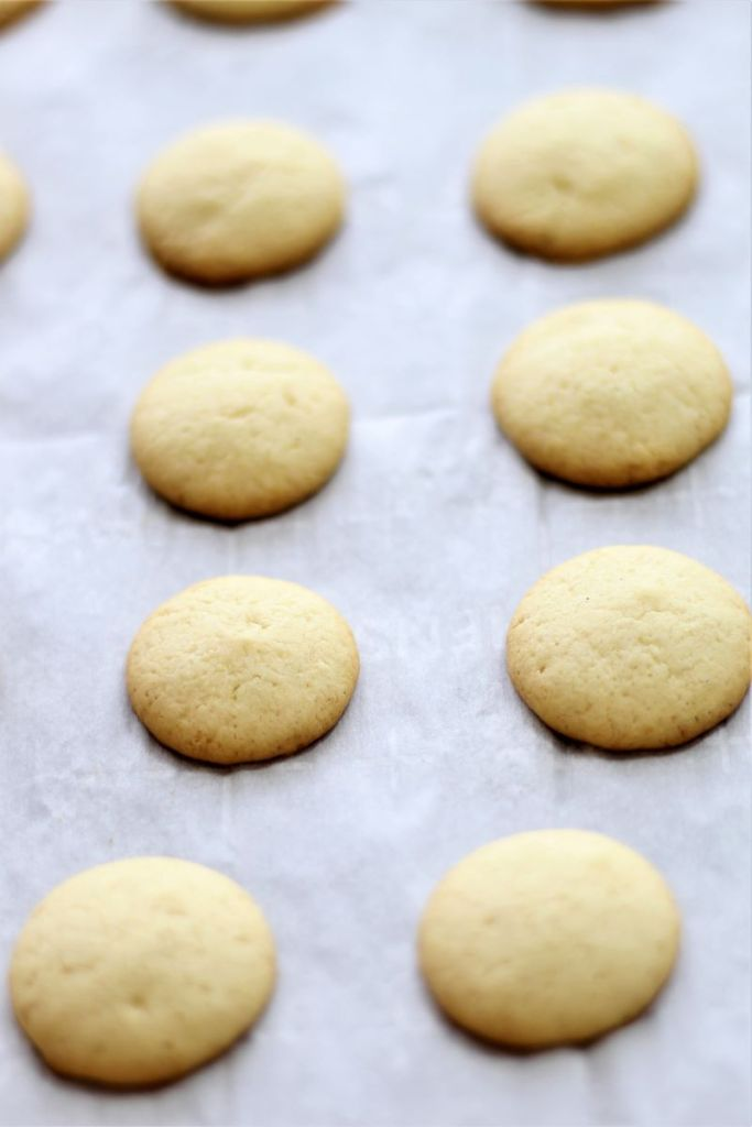 baked vanilla wafers on parchment sheet