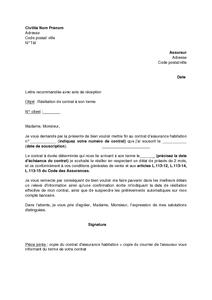Exemple Rsiliation Assurance Auto Modle De Lettre