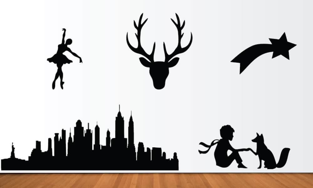 Idées cadeaux lettres formes découpées noir cerf danseuse petit prince etoile ville new york design décoration