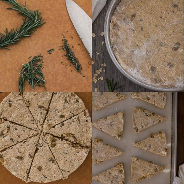 Rosemary Oatmeal Scones how to collage
