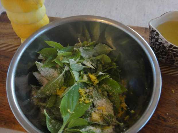 Lemon Basil and lemon zest for muddling Lemon Basil Lemonade