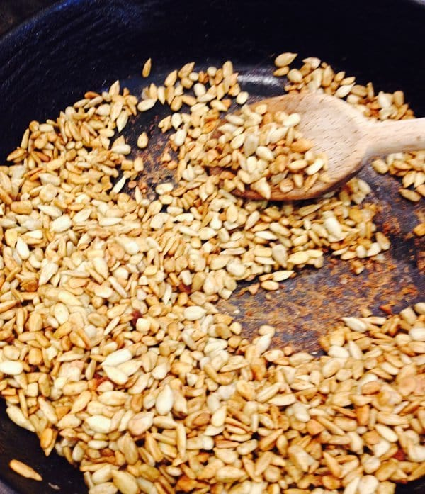 Tamari Roasted sunflower seeds in stovetop skillet