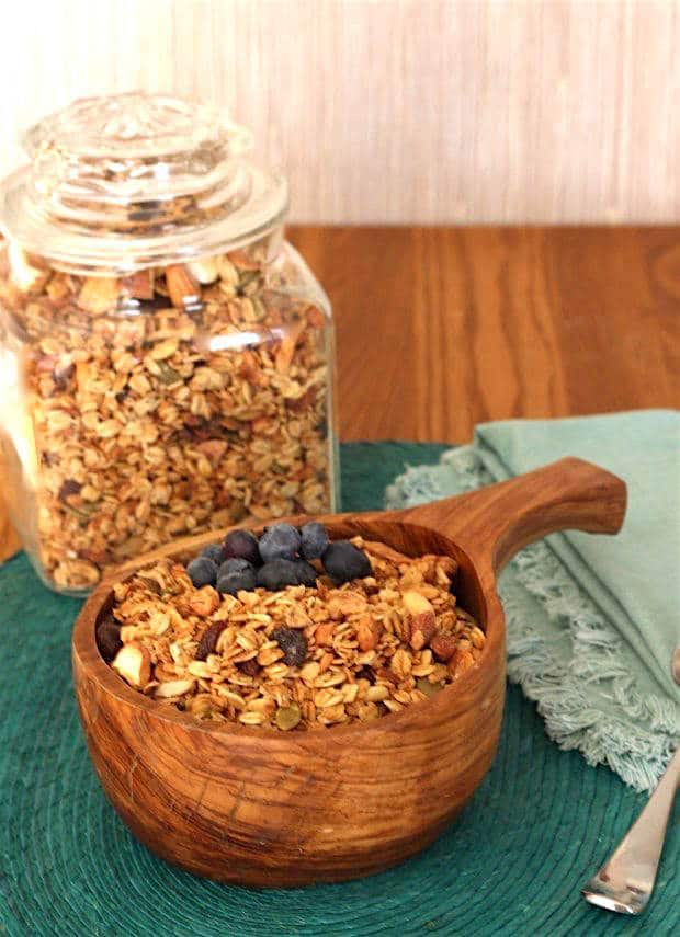 Naturally sweetened with apple juice, this healthy homemade granola is loaded with assorted good-for-you nuts.