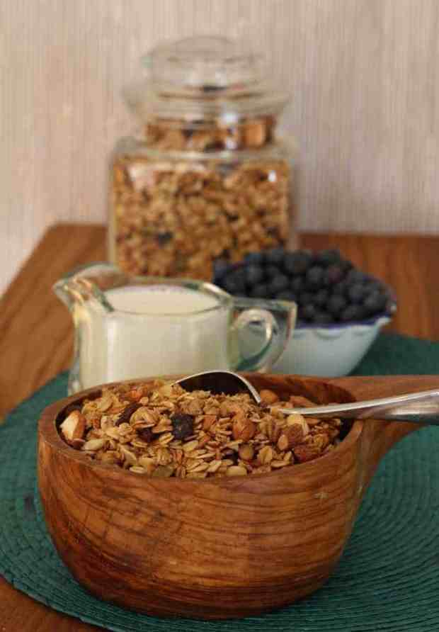 Sundance granola with milk and blueberries