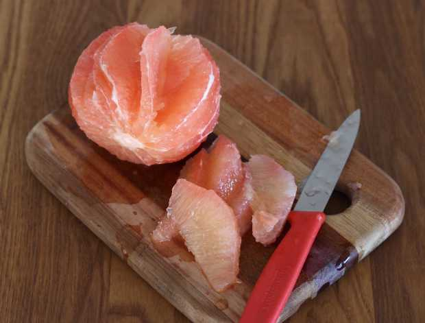 sectioning grapefruit for Salad with Jicama and Cumin Lime Dressing | Letty's Kitchen