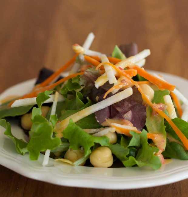 hummus vinaigrette on salad