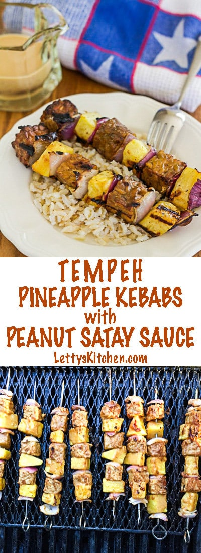 Vegan Tempeh and Pineapple Kebabs with Peanut Satay Sauce are perfect for summer grilling.  Marinated and served with spicy peanut sauce.