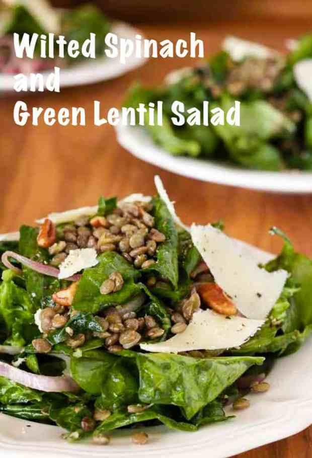Vegetarian wilted spinach salad salad of peppery green lentils, balsamic vinaigrette, toasted pecans and sharp cheddar cheese makes a delicious protein rich summer salad. #vegetarian #spinach #wilted #salad